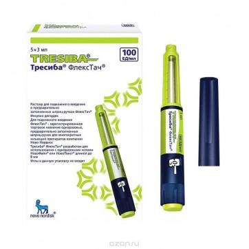 Тресиба флекстач р-р д/ин. 100 ЕД/мл картридж, влож. в шприц-ручку 3 мл №5 инструкция и цены