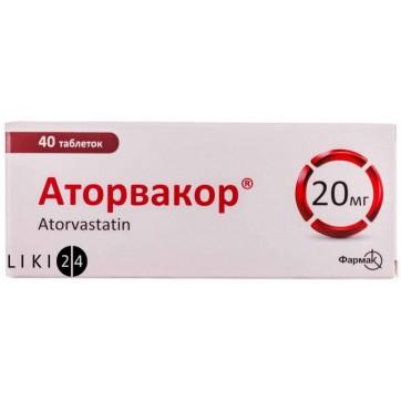 Аторвакор табл. п/плен. оболочкой 20 мг блистер №40 инструкция и цены