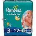 Подгузники Pampers Active Baby 3 Midi 6-10 кг 22 шт