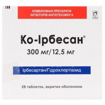 Ко-ірбесан табл. в/о 300 мг + 12,5 мг блістер №28 інструкція та ціни