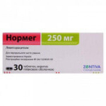 Нормег табл. в/плівк. обол. 250 мг блістер, у коробці №30 інструкція та ціни