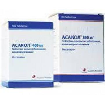 Асакол табл. п/о кишечно-раств. 400 мг блистер, коробка картон. №100 инструкция и цены