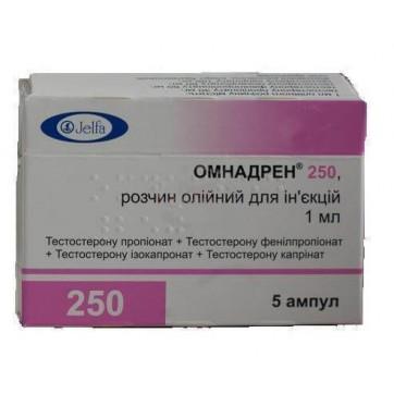 Омнадрен 250 р-р масл. д/ин. амп. 1 мл №5 инструкция и цены