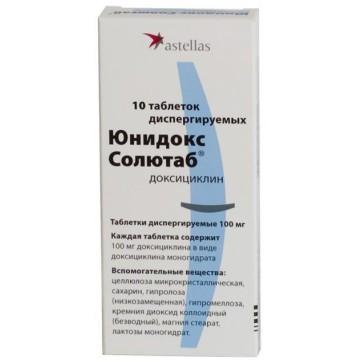 Юнидокс Солютаб табл. дисперг. 100 мг блистер №10 инструкция и цены
