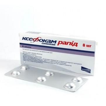 Ксефокам рапид табл. п/о 8 мг №6 инструкция и цены