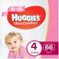 Подгузники Huggies Ultra Comfort 4 для девочек 8-14 кг 66 шт