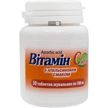 Витамин C 500 табл. жев. 0,5 г с апельсиновым вкусом №30 инструкция и цены