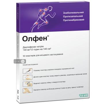 Олфен пластир лікувальний 140 мг/12 годин пакет №10 інструкція та ціни
