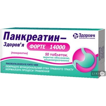 Панкреатин-Здоровье Форте 14000 табл. п/о кишечно-раств. 384 мг блистер №50 инструкция и цены