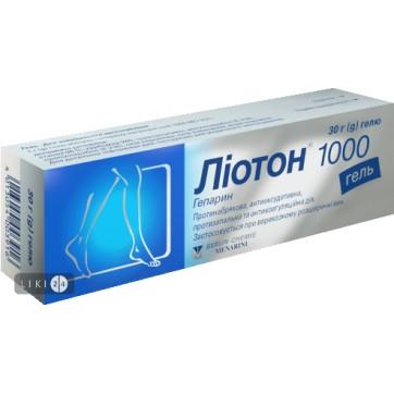 Лиотон 1000 гель туба 30 г инструкция и цены
