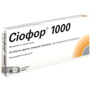 Сиофор 1000 табл. п/плен. оболочкой 1000 мг №30 инструкция и цены